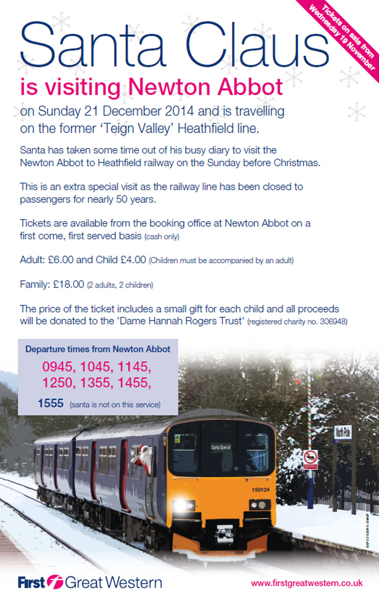 Santa train from Newton Abbot - click to see read full event poster